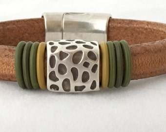 Mens Leather Cuff - Leather Bracelet Silver - Leather Wrist Cuff - Mens Bracelet - Mens Jewelry - Christmas Gift for Him