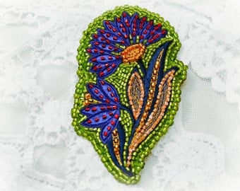 Brooch Flower leaves embroidery Fabric Egyptian Style Blue Green Red Brooch Art Fiber Woodland Pin women gift idea elegant jewelry natural
