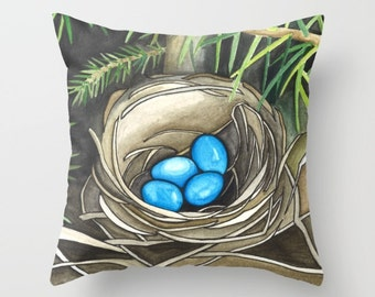 Bird Nest with Eggs Pillow