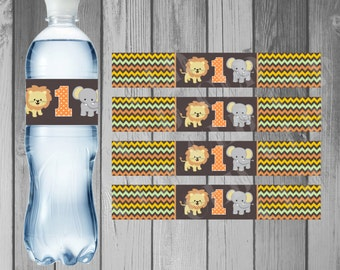 Water Bottle Label Birthday Party Printable Water Bottle Instant Download Jungle Birthday Jungle Party Printable Jungle Boy 1st Boy First