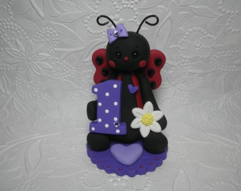 Personalized Baby Girl's First Birthday Ladybug Cake Topper,Gift,Keepsake