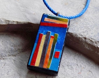 Stripes - Double-sided Wearable Art Necklace