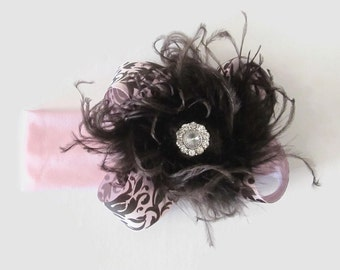 Pink and Brown Damask Bow with Brown Ostrich and Rhinestone Changeable Pink Knit Headband