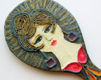 Vintage Gemma Taccogna Style Paper Mache Hand Mirror Vanity Table Accessory