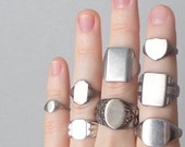 Antique Sterling Signet Ring. Mirror Shiny Finish. 7.5