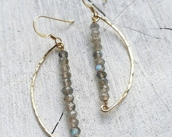 Labradorite Crescent Hoops - moon earrings, beach chic, boho jewelry, organic, mahina, hawaii