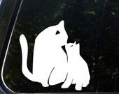"CAR - Cat Mom and Baby Kitten Kiss - D2 - Car Vinyl Decal Sticker - Copyright © Yadda-Yadda Design Co. (4""w x 4""h) (COLOR CHOICES)"