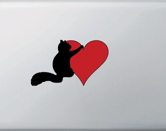 """CLR:MB - Squirrel Hugging Heart - Vinyl Decal for Macbook and Laptop - © 2016 YYDCo. (5.25""""w x 3""""h) (Color Choices)"""
