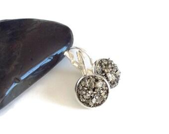 Pyrite Earrings, Sterling Silver Leverback Earrings, Raw Pyrite Earrings