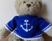 Teddy Bear Sweater Jumper - Hand knitted -  Royal Blue with Anchor motif - fits Build a Bear