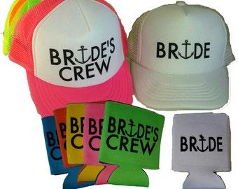 Single Set Bride's Crew Anchor Snapback Mesh Trucker Hat Cap & Matching Can Cover  Team Bride Bachelorette
