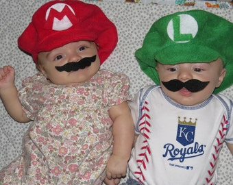 Super Mario Bros Inspired-INFANT or TODDLER Mario and Luigi Hats, Mustaches and Buttons-COMBO