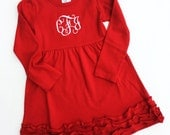 Monogrammed Valentine Dress. Red Ruffle Valentine's Day dress with monogram for baby girl, toddler, little girl. Cute Sweetheart outfit