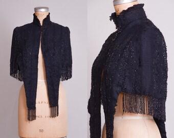 Victorian Black Beaded Mourning Cape 1800's Glass Beaded Fringe Capelet Jacket
