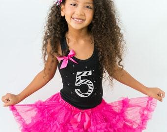 Zebra 5th Birthday Tutu Outfit, Black White Zebra Glitter Rhinestone Number Five, Hot Pink Fluffy Ruffle Sparkle Pettiskirt, Glam Diva Party