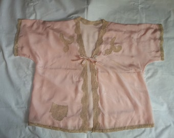 Vintage 1930's  Bed Jacket...Lingerie...Pink Silk... French Lace...PERFECT Condition