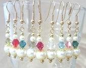 Graduated Off White Pearl & Colored Crystal Dangle Earrings, Handmade Original Fashion Jewelry, Simple Classic Elegant Custom Wedding Accent