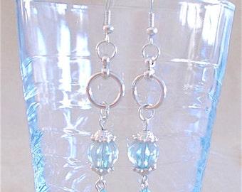 Silver & Blue Bead Crystal Dangle Hoop Earrings, Handmade Original Fashion Jewelry, Sophisticated Elegant Bold Ladies Gift Something Blue