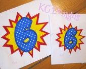 Super Hero Burst Number 6 Machine Applique Embroidery Design - 4x4, 5x7 & 6x8