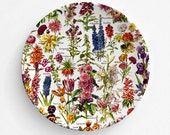 Garden Flowers, Botanical Antique Book Plate, Melamine Plate, flowers, decorative plate, gift, mothers day