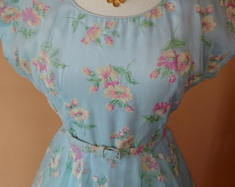 1950s Pastel Blue Floral Dress with Matching Belt XL