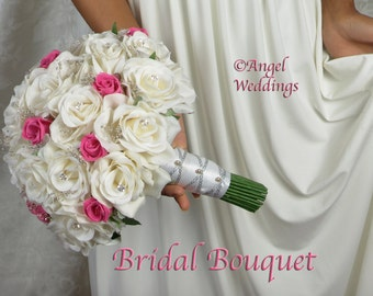 ANGELINA FUSCHIA WHITE Love Bridal Groom Wedding Bouquets Bouquet Silk Flowers Arrangement Custom Corsage Boutonnieres Bridesmaids