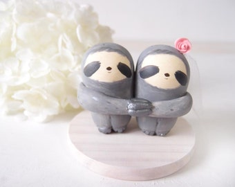 Custom Handmade Wedding Cake Toppers - Love Grey Sloth with base
