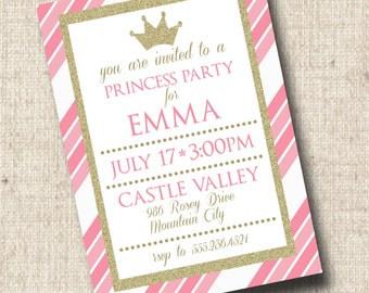 Printable Princess Party Invitation, Princess Birthday Invitation, Pink and Gold, Princess Baby Shower