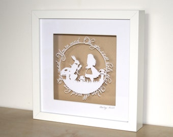 We're All Mad Here Papercut - Alice in Wonderland