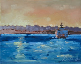 Original Oil Painting Landscape on Stretched Canvas: Ferry on the Puget Sound at Sunset