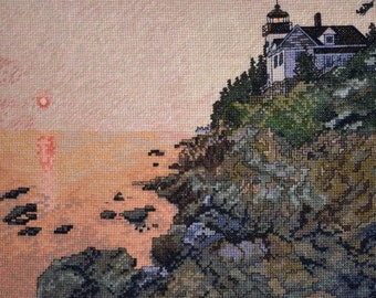 Unframed Completed Cross Stitch Wall Art Bass Harbor Lighthouse