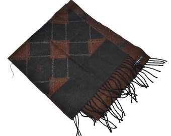 """Vintage 90s pure wool designer Geoffrey Beene long scarf  12.5"""" x 60"""" brown black Made in France Gift  for her or him Fathers day gift"""