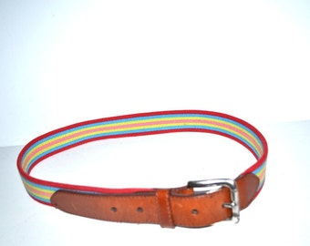 Vintage Authentic Fossil rainbow fabric leather belt  Unisex size M Unisex belt