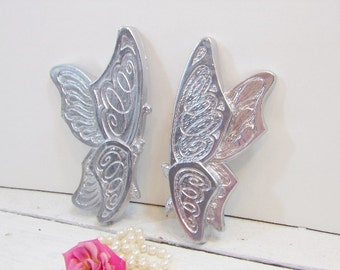 Vintage Silver Butterflies Nursery Girls Room Homco Syroco Hollywood Regency