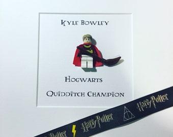 Personalised Harry Potter Lego Minifigure. Gryffindor Hogwarts uniform. Quidditch. Broomstick . Box Frame.