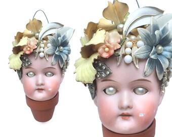 Flower Pot Head, mixed media assemblage, altered art doll, doll head ornament, flower child, by Elizabeth Rosen