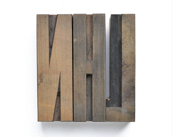 "ONE 4"" wooden letterpress blocks choose from N H L"