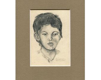 Vintage Original Pencil Sketch, Pencil Portrait of Young Boy, Original Portrait, Vintage Original Art, Charcoal Drawing