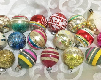 Colorful Mid Century Glass Ornament Lot ~ 17 Mixed Lot ~ Stripes and More