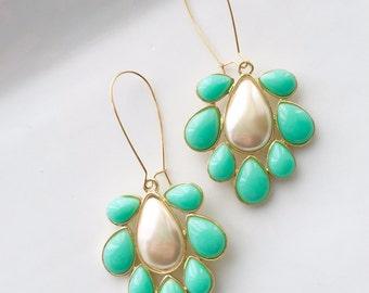 Turquoise Statement Earrings Vintage Fan Pearl Wedding Day