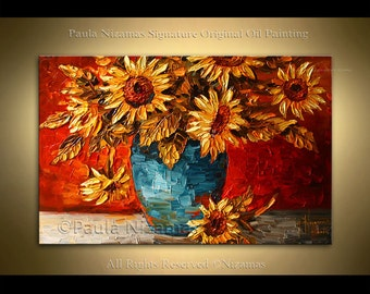 Texture painting Sunflowers ABSTRACT flower Palette Knife Texture floral art Nizamas wall decor