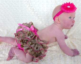 Parley Ray Daddy's Girl Welcome Home MARPAT Desert Tan Camo All Around Ruffled Skirt and Shirt Baby Bloomers Military