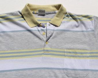 Vintage Polo Shirt - Yellow Stripe - collar - pocket - XL grunge pinstripe