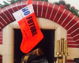 Punk Christmas Stocking - Sex Pistols- NO FUTURE- Xmas Stocking- Anarchy- Red Sock- New