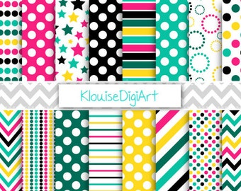 Pink, Black and Yellow Printable Digital Paper Pack with Polka Dot, Stripes and Chevron for Personal and Small Commercial Use (0026)