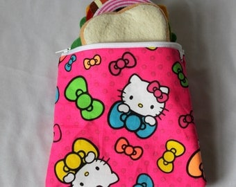 "Reusable sandwich bag, snack bag in hello kitty print 7""x6.5"""
