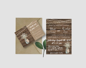 Rustic Wedding Invitations, Barn Wedding, Barnwood and Baby's Breath Mason Jar Invitations, Burlap and Lace Wedding Invitation, Wedding Day