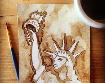 Original Coffee Painting I made of the Statue of Liberty (framed)