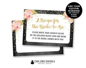 BRIDAL SHOWER INSERT Card Custom Invitation Enclosure Cards Custom Insert Cards Printed Info Card Printable Insert Card Gold Stripe - Krissy