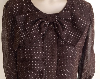 Vintage 1960s Leslie Fay Misses' Brown and White Polka Dot Dress